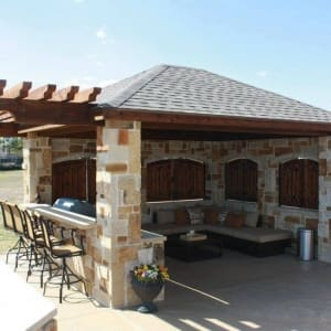Outdoor Living In Built Kitchen With Patio Covers Nearby The Colony